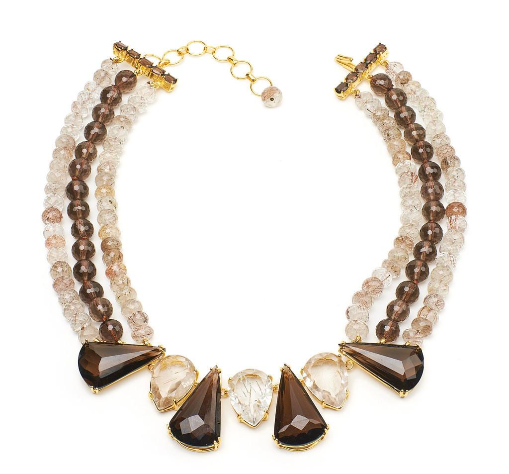 Necklace with Rutilated Quartz and Smoky Topaz