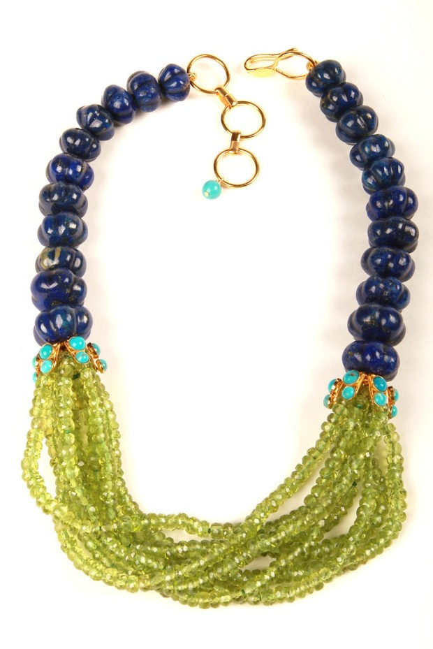 Necklace with Melon Lapis and Multi Strand Peridot
