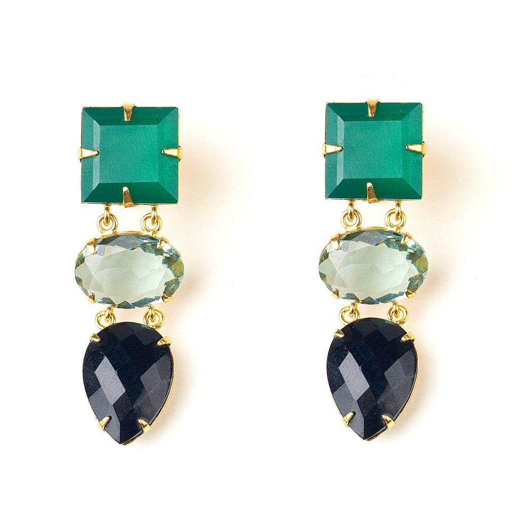 Earrings with Green Onyx, Green Amethyst and Black Onyx