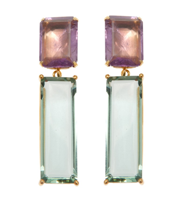 Earrings with Amethyst and Green Amethyst