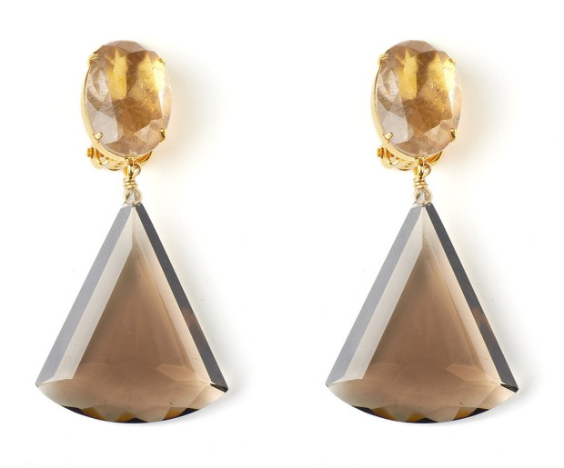 Earrings with Rutilated Quartz and Smoky Topaz