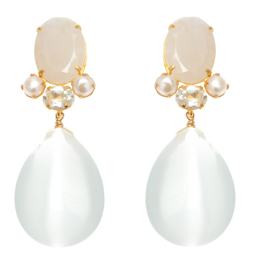 Earrings with Moonstone, White Topaz, Button Pearl and White Cat's Eye