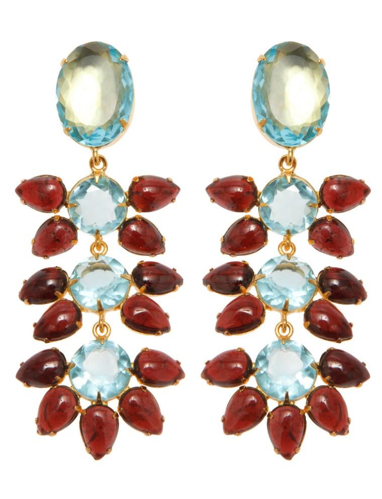 Earrings with Blue Quartz and Garnet