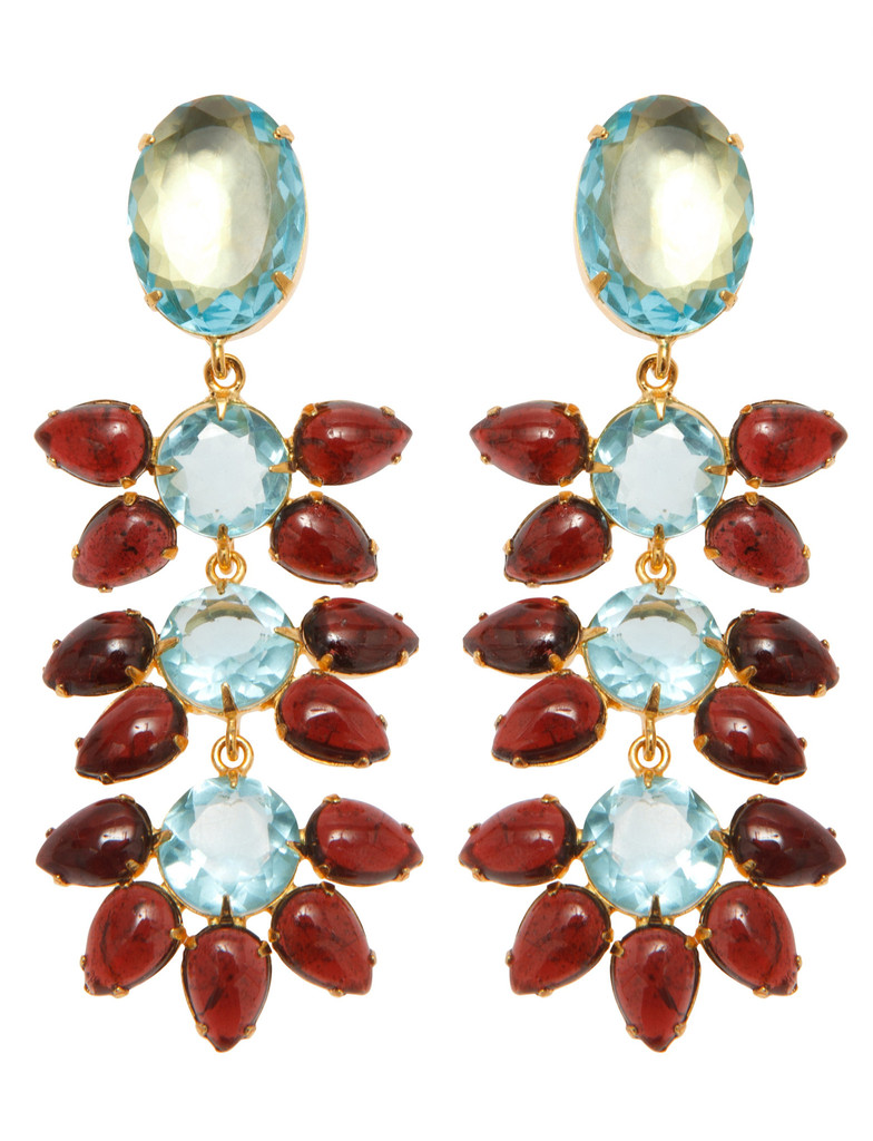 Earrings with Blue Quartz and Garnet