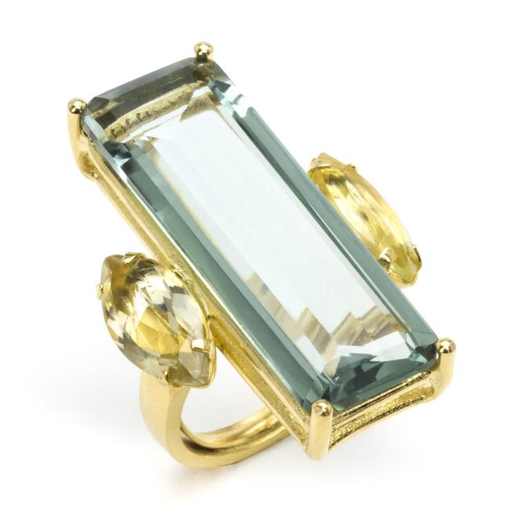 Ring with Green Amethyst and Lemon Quartz